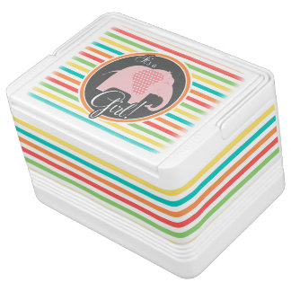 Girl Elephant, Bright Rainbow Stripes Cooler