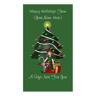 Girl Elf Present Christmas Holiday Gift Card Tag Business Card Templates
