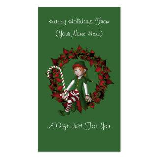 Girl Elf Wreath Christmas Holiday Gift Card Tag Business Card Template