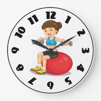 Girl Exercising With Weights Clock