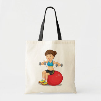 Girl Exercising With Weights Tote Bag