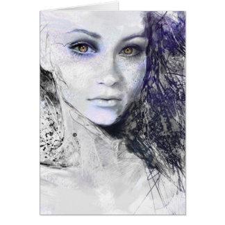 Girl Face Eyes Hair Drawing Card