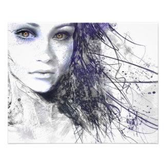 Girl Face Eyes Hair Drawing Flyer