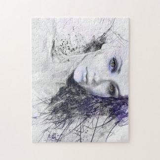 Girl Face Eyes Hair Drawing Jigsaw Puzzle
