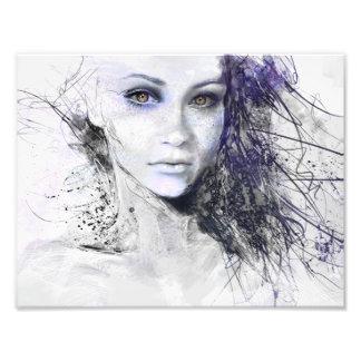 Girl Face Eyes Hair Drawing Photo Print