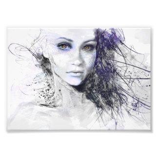 Girl Face Eyes Hair Drawing Photograph