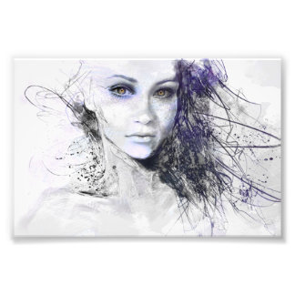 Girl Face Eyes Hair Drawing Photographic Print