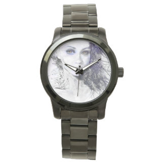 Girl Face Eyes Hair Drawing Wrist Watches
