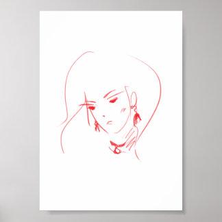 Girl face sketch poster