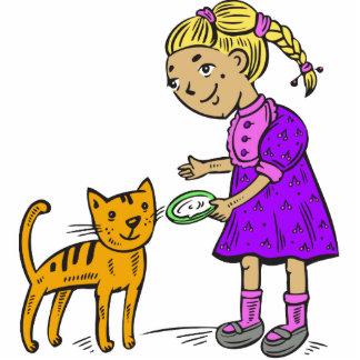 Girl Feeding Cat Cut Out