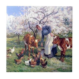 Girl Feeding Farm Animals Painting Tile