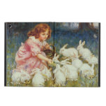 Girl feeding rabbits cover for iPad air