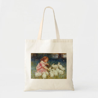 Girl feeding Rabbits Tote Bag