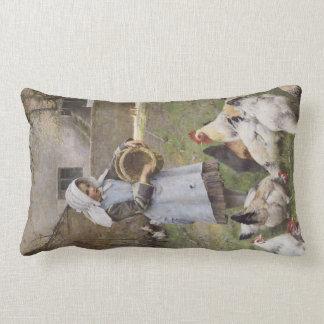 Girl feeding the chickens lumbar cushion
