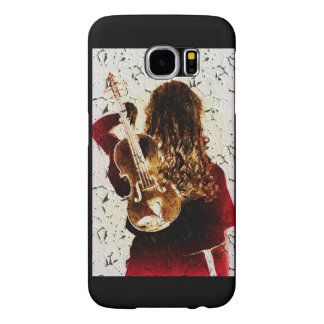 Girl Fiddle Violin Instrument Music Crackled Samsung Galaxy S6 Cases