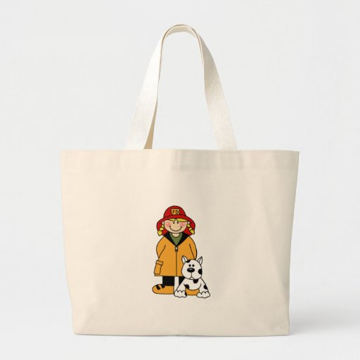 Girl Firefighter with Dalmation Tote Bags