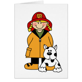 Girl Firefighter with Dalmation Card