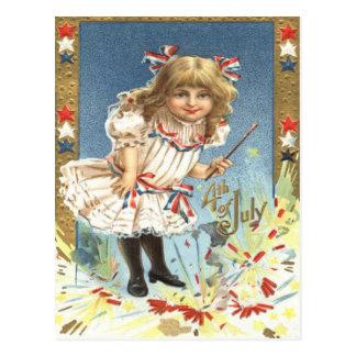 Girl Fireworks Firecracker Stars & Stripes Postcard