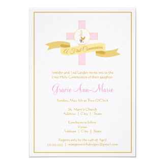 "Girl First Communion Invitation - Pink 5"" X 7"" Invitation Card"