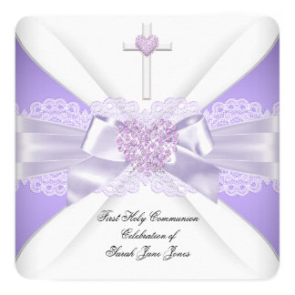 Girl First Holy Communion Lilac Lace Heart 3 13 Cm X 13 Cm Square Invitation Card