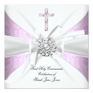 Girl First Holy Communion Pink Damask White Silver Custom Announcements