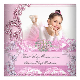 Girl First Holy Communion Pink Photo Butterfly Custom Invitations