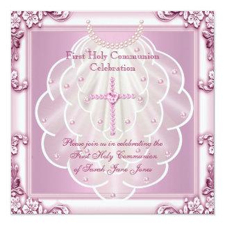 Girl First Holy Communion Pink Veil Pink Cross Card