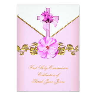 Girl First Holy Communion Pink White Flower 3 11 Cm X 16 Cm Invitation Card