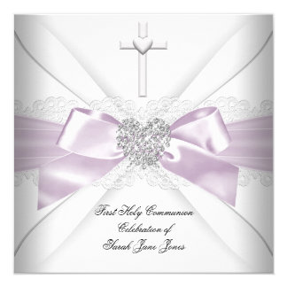Girl First Holy Communion Pink White Silver Heart Card