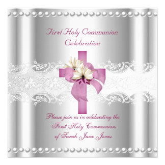 Girl First Holy Communion Silver Lace Pink Pearl Announcement