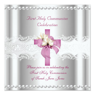 Girl First Holy Communion Silver Lace Pink Pearl 5.25x5.25 Square Paper Invitation Card