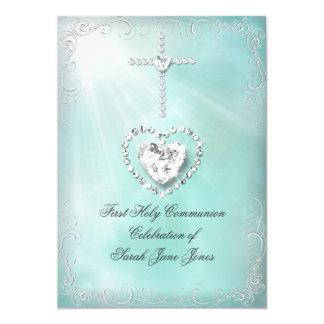 Girl First Holy Communion Teal Blue Heavenly 13 Cm X 18 Cm Invitation Card