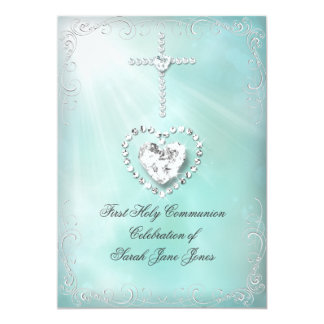 Girl First Holy Communion Teal Blue Heavenly Custom Invitations