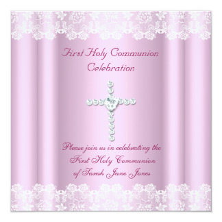 Girl First Holy Communion White Lace Pink Cross Announcement