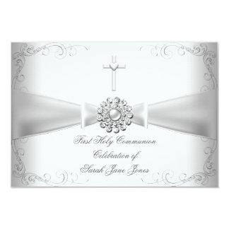 Girl First Holy Communion White Silver 9 Cm X 13 Cm Invitation Card