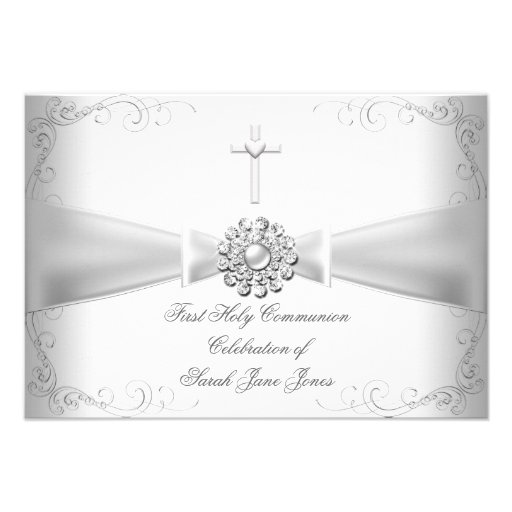 Girl First Holy Communion White Silver Announcements