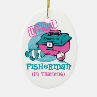 Girl Fisherman In Training Double-Sided Oval Ceramic Christmas Ornament