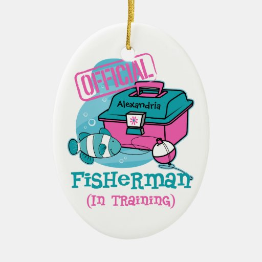 Girl Fisherman In Training Christmas Ornaments