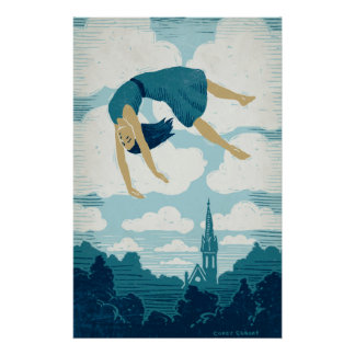 Girl Floating in Air Poster