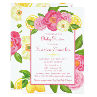 Girl Floral Garden Lemon Baby Shower Invitation