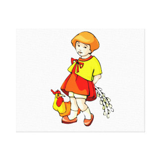 girl flowers behind back chicken graphic canvas print