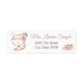 Girl Fox Baby Shower Return Address Labels