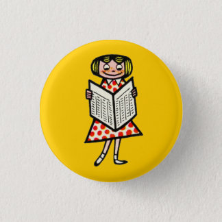 Girl French Vintage Reading Newspaper Kid 1950s 3 Cm Round Badge