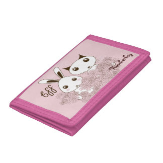 Girl Friendship Cute Animal Kids Name Pink Tri-fold Wallets