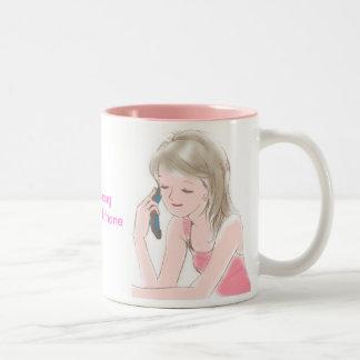girl gabbing on the cell-phone coffee mug