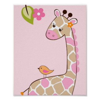Girl Giraffe Jungle Animal Nursery Wall Art Print