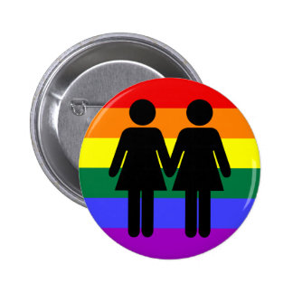 Girl + Girl Rainbow Button