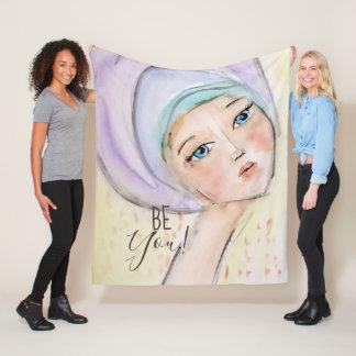 Girl Girly Turban Pastel Watercolor Art Purple Fun Fleece Blanket