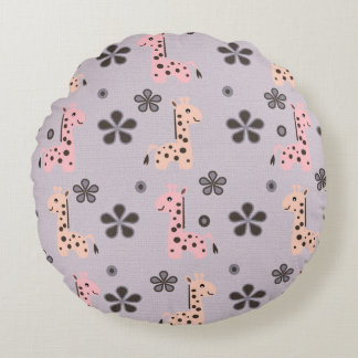GIRL GIRRAFE Playland Round Cushion