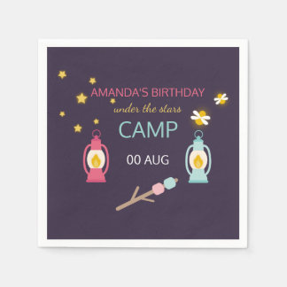 Girl Glamping Birthday Party personalised Paper Napkin